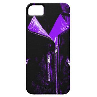 Caja púrpura del iPhone 5 de la chaqueta de cuero iPhone 5 Funda