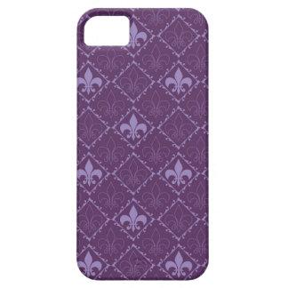 Caja púrpura del iphone 5 de la flor de lis apenas funda para iPhone SE/5/5s
