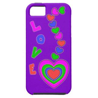 Caja púrpura del iPhone 5 de los corazones del mul iPhone 5 Case-Mate Fundas