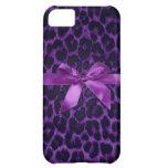 Caja púrpura del iPhone 5 del estampado leopardo