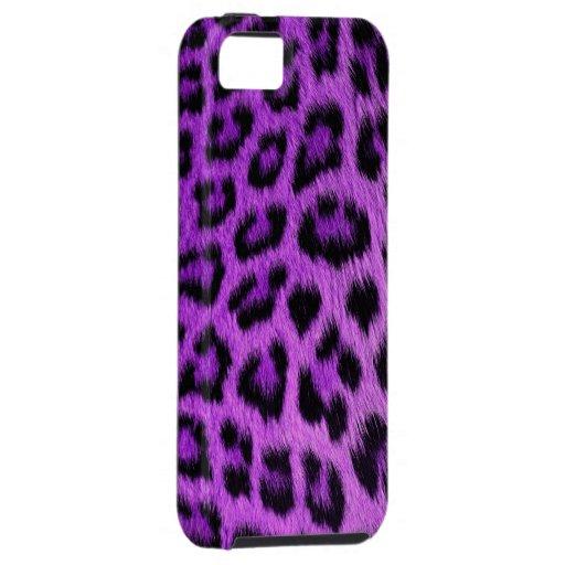 Caja púrpura del iPhone 5 del estampado leopardo iPhone 5 Cobertura