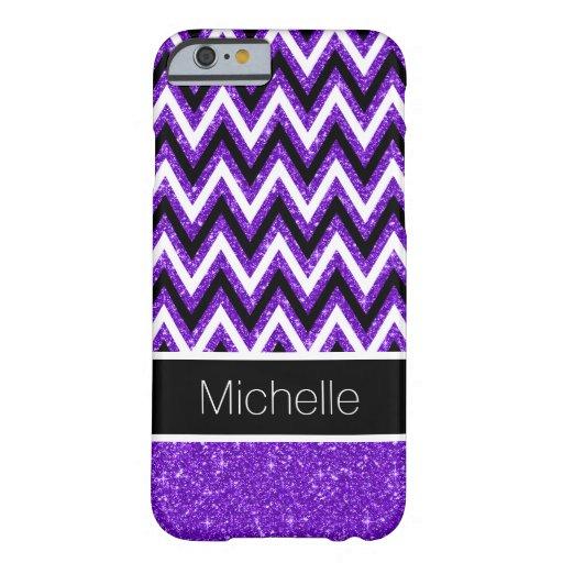 Caja púrpura del iPhone 6 de Chevron del negro del Funda De iPhone 6 Barely There