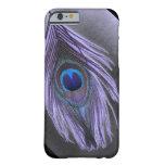 Caja púrpura del iPhone 6 de la pluma del pavo Funda De iPhone 6 Barely There