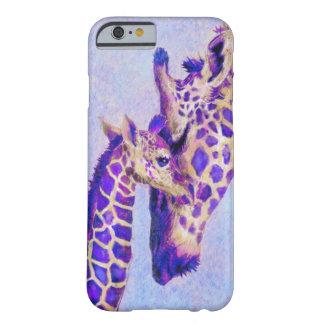 caja púrpura del iPhone 6 de las jirafas Funda De iPhone 6 Barely There