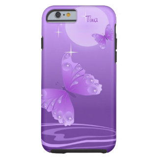 Caja púrpura del iPhone 6 de las mariposas Funda De iPhone 6 Tough
