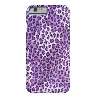 Caja púrpura del iPhone 6 del leopardo Funda De iPhone 6 Barely There