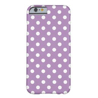 Caja púrpura del iPhone 6 del lunar de la violeta Funda Para iPhone 6 Barely There