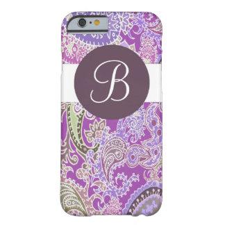 Caja púrpura del iphone 6 del monograma del diseño funda de iPhone 6 barely there
