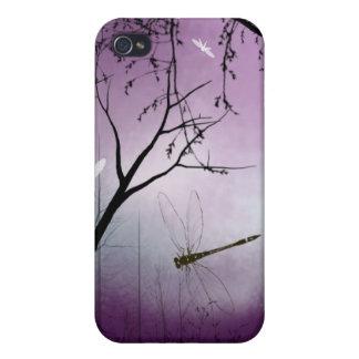 Caja púrpura del iPhone de la tarde de las libélul iPhone 4 Fundas