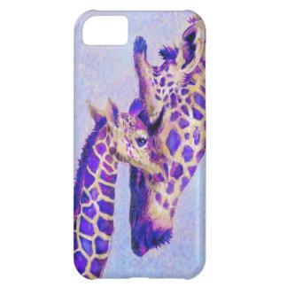 caja púrpura del iphone de las jirafas