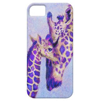 caja púrpura del iphone de las jirafas iPhone 5 carcasas