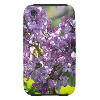 Caja púrpura del iPhone de las lilas Tough iPhone 3 Cárcasas