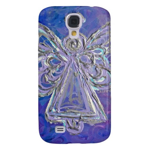 Caja púrpura del iPhone del ángel