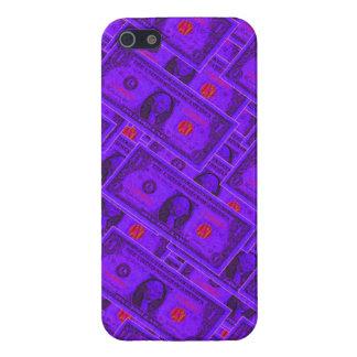 Caja púrpura del iPhone del billete de dólar iPhone 5 Funda