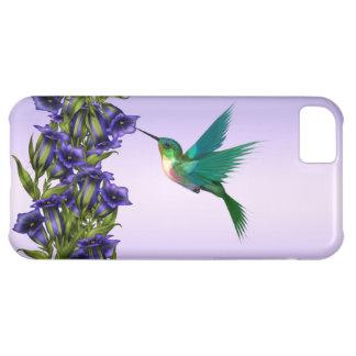 Caja púrpura del iPhone del colibrí de las violeta