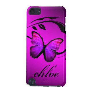 caja púrpura del rosa brillante de la mariposa del funda para iPod touch 5G