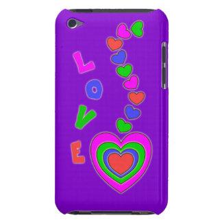 Caja púrpura del tacto de iPod del amor de los cor iPod Case-Mate Coberturas