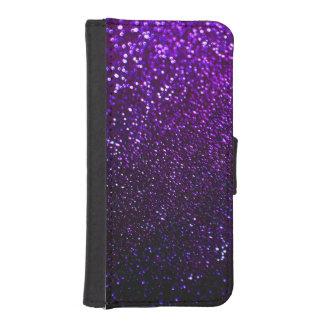 Caja púrpura del teléfono de la cartera del brillo fundas cartera de iPhone 5