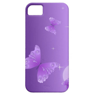 Caja púrpura del teléfono de la mariposa iPhone 5 funda