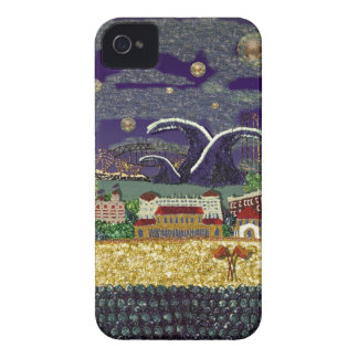 Caja púrpura del teléfono del arte de la lentejuel iPhone 4 Case-Mate fundas