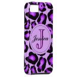 Caja púrpura del teléfono del leopardo iPhone 5 Case-Mate carcasas