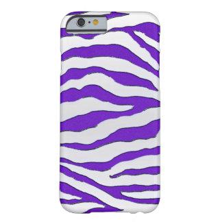 Caja púrpura eléctrica del iPhone 6 de la cebra Funda De iPhone 6 Barely There
