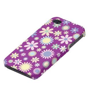 Caja púrpura floral del iphone 4 de la flor de la  iPhone 4 carcasa