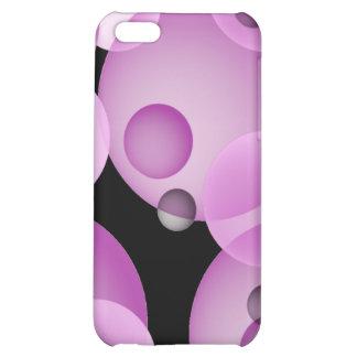Caja púrpura flotante del iPhone 4 de las esferas