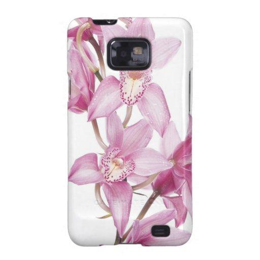 Caja púrpura hermosa de la orquídea samsung galaxy SII carcasas