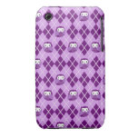 Caja púrpura linda del iPhone del modelo de Argyle iPhone 3 Case-Mate Coberturas