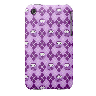 Caja púrpura linda del iPhone del modelo de Argyle iPhone 3 Case-Mate Funda