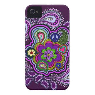 Caja púrpura psicodélica del teléfono de Paisley iPhone 4 Case-Mate Carcasas