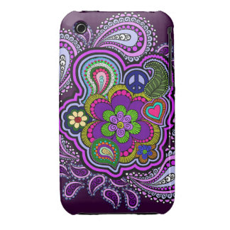 Caja púrpura psicodélica del teléfono de Paisley iPhone 3 Case-Mate Protectores