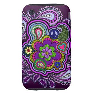 Caja púrpura psicodélica del teléfono de Paisley iPhone 3 Tough Cárcasas