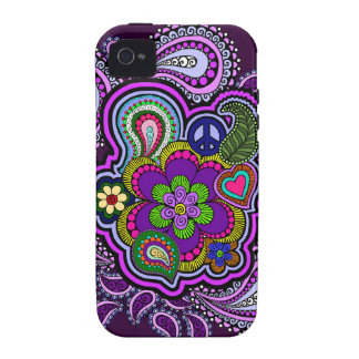 Caja púrpura psicodélica del teléfono de Paisley Vibe iPhone 4 Funda