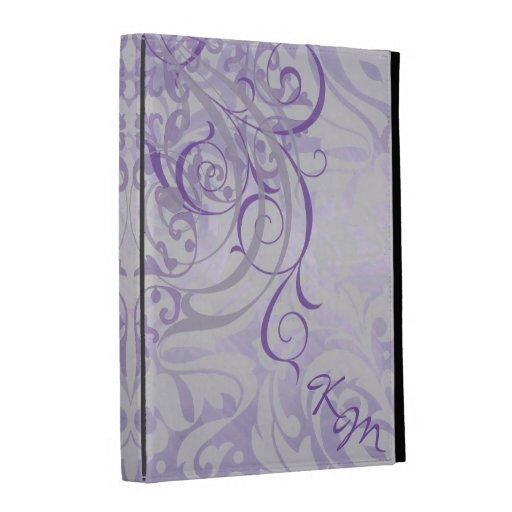 Caja púrpura rococó del folio de Ipad del vintage