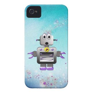 Caja púrpura y azul del robot retro lindo del funda para iPhone 4