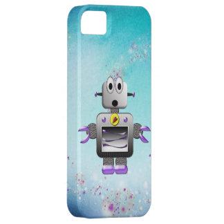 Caja púrpura y azul del robot retro lindo del iPho iPhone 5 Funda