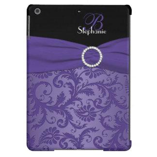 Caja púrpura y negra del monograma del damasco del