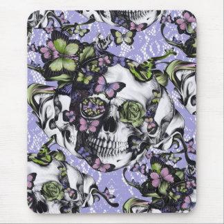 Caja púrpura y verde del cráneo de la mariposa del alfombrillas de ratón