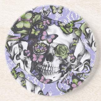 Caja púrpura y verde del cráneo de la mariposa del posavasos manualidades