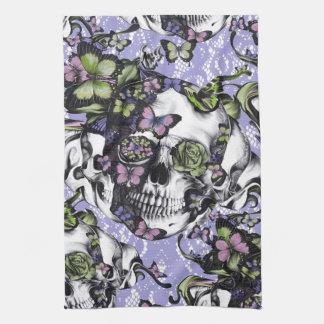 Caja púrpura y verde del cráneo de la mariposa del toallas de mano