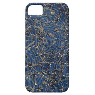 Caja que vetea del azul y del oro funda para iPhone 5 barely there