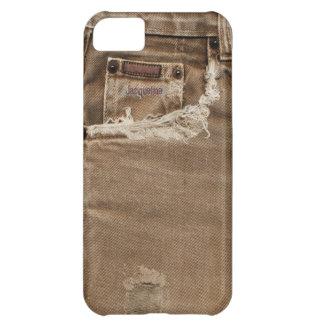 Caja rasgada Brown del iPhone 5c del bolsillo de l