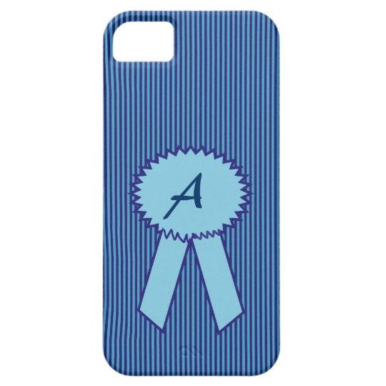 Caja rayada azul de Iphone 5 del monograma Funda Para iPhone SE/5/5s