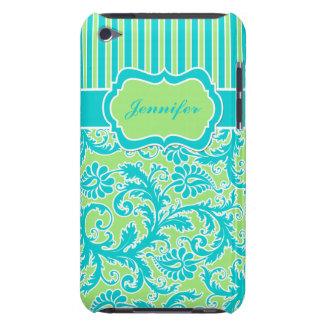 Caja rayada azul, verde, blanca del tacto de iPod  Case-Mate iPod Touch Protector