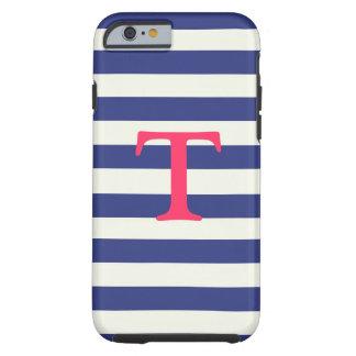 Caja rayada azul y blanca del iPhone 6