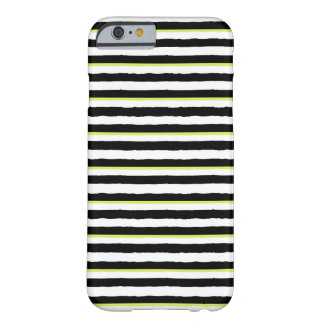 Caja rayada blanca y chartreuse negra del iPhone 6 Funda Barely There iPhone 6