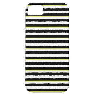 Caja rayada blanca y chartreuse negra del iPhone Funda Para iPhone SE/5/5s