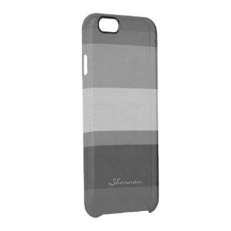Caja rayada clara negra y gris de encargo del funda clearly™ deflector para iPhone 6 de uncommon